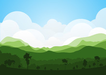 Colorful Silhouette Summer Landscape Background For Graphic Design And Website
