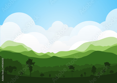 colorful silhouette summer landscape background for graphic design and website Fototapeta