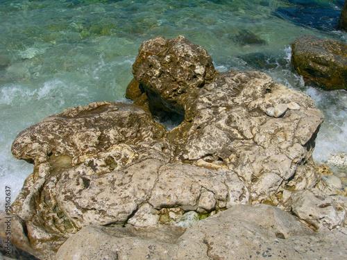 Fotografie, Obraz  The old stones on the Black sea in the Chersonese, peninsula of Crimea, Russia