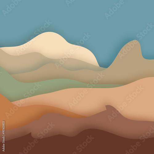 Mountain landscape - paper cut out style.