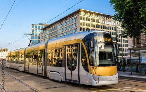 Tram on Place Poelart in Brussels - Belgium Tapéta, Fotótapéta