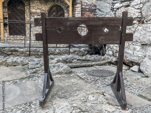 Wooden medieval pillory Canvas Print