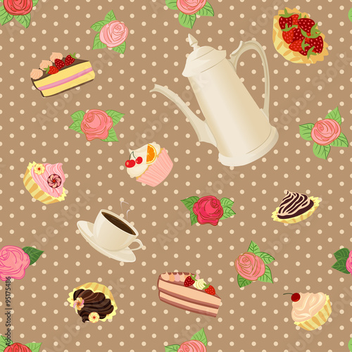 Fototapety, obrazy: Seamless pattern with coffee pot, cups, cakes and roses.