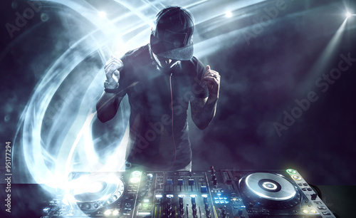 DJ with Turntables Canvas Print