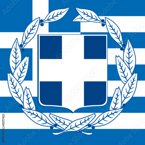 greece coat of arm and flag Canvas Print