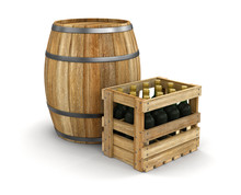 Wine Barrel And Wooden Box With Bottles (clipping Path Included)
