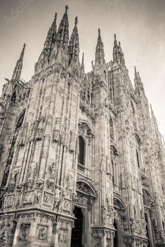 Poster Monument Duomo Milan Italy - black and white photo