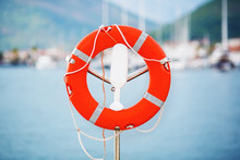 Life Buoy In Montenegro Marina.