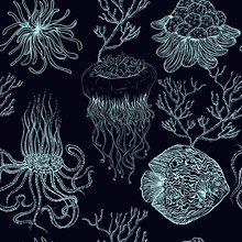 Seamless Pattern With Jellyfish,tropical Fish, Marine Plants And Corals. Vintage Hand Drawn Vector Illustration Marine Life. Design For Summer Beach, Decorations,print,pattern Fill, Web Surface