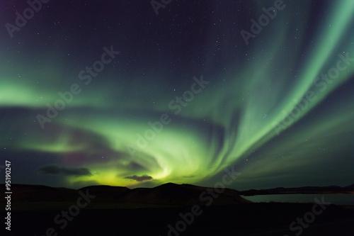 Northern lights, aurora borealis, Iceland Poster