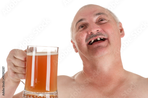 Photo  humorous portrait adult man with a beer in hand