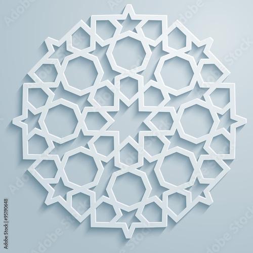 Fotografie, Obraz  Geometric ornament arabic round pattern background - persian decorative