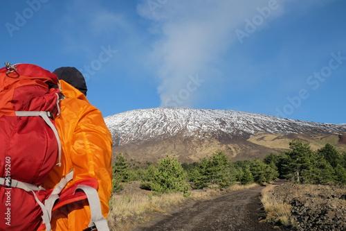 Fotografie, Obraz Hiker On Volcano Etna Park, Sicily