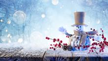 Snowman Greets Happy Under Sno...