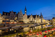 """canvas print picture - Picturesque medieval buildings overlooking the """"Graslei harbor"""" on Leie river in Ghent town, Belgium, Europe. Nightscene."""
