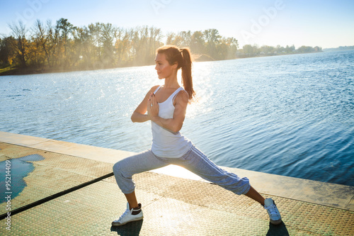 fitness girl at lake Plakát