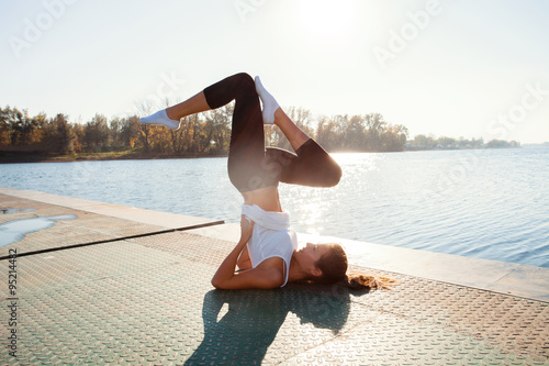 Fotografie, Tablou  fitness girls at lake
