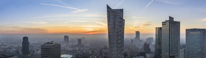 Foggy sundown over Warsaw