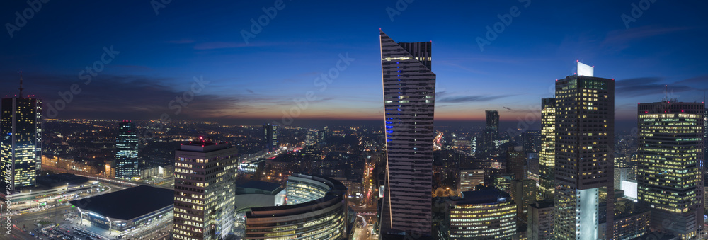 Fototapety, obrazy: Panorama of Warsaw downtown during the night
