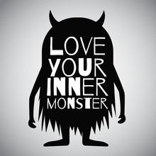Vector Monster Cartoon, Black Silhouette Illustration