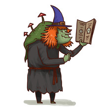 Vector Cartoon Image Of A Terrible Green Witch With Red Mushrooms On Her Back With Ginger Hair In A Black Dress And Blue Pointed Hat With A Light Brown Spellbook In Her Hand On A White Background.