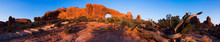 Panorama Of The North Window At Sunset In National Park, Utah. This Arid Desert Is In The Great Basin Of The United States.