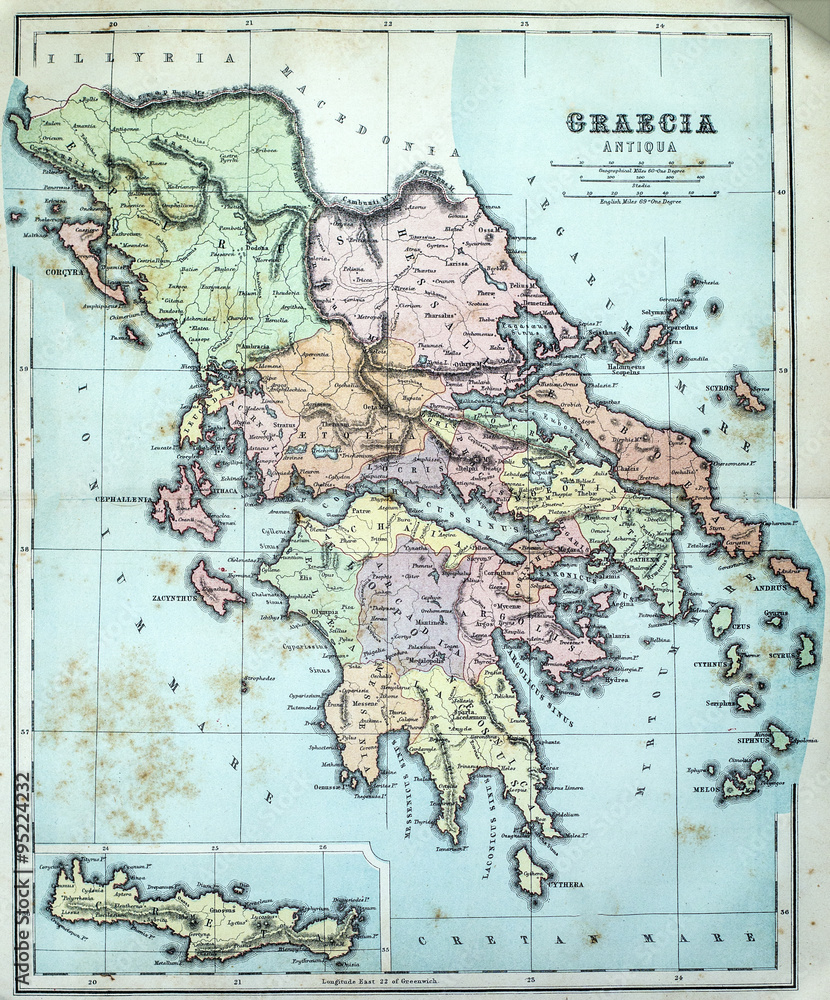 photograph about Printable Map of Ancient Greece titled Photograph Artwork Print Map of Historical Greece EuroPosters