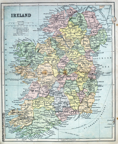 Map of Victorian Era Ireland Canvas Print