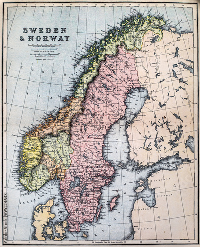 Map of 19th Century Sweden and Norway Wallpaper Mural