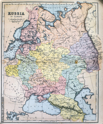 Photographie  Map of 19th Century Russia