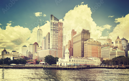 Foto op Aluminium New York Vintage toned picture of New York waterfront, USA.