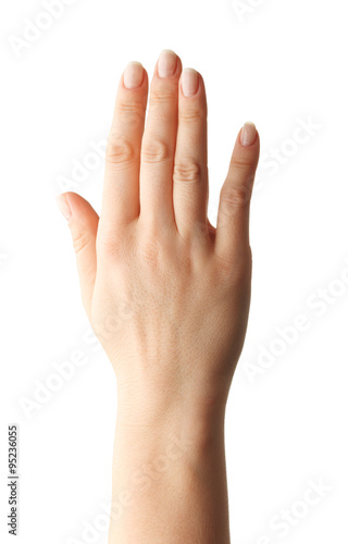Foto  Woman hand showing the five fingers. isolated