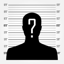 Man Silhouette With Question Mark In Mugshot Or Police Lineup Background