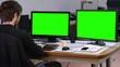 Worker stretching drink coffee office green screen - 1080p. A man in front a green screen office stretching and drinking coffee - Full HD