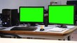 Computer station green screen office - 1080p. Computer station office set with green screen monitors - Full HD