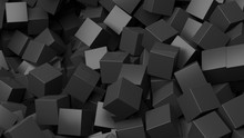 3D Black Cubes Pile Abstract Background