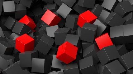 Fototapeta3D black and red cubes pile abstract background