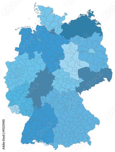 Karte von Deutschland Canvas Print