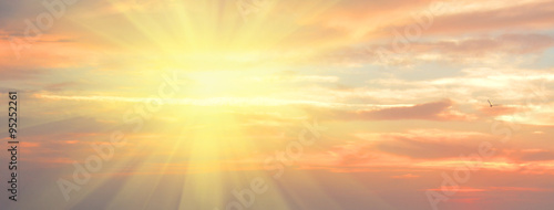 Photo  Panoramic cloudscape, idyllic natural background with copy space