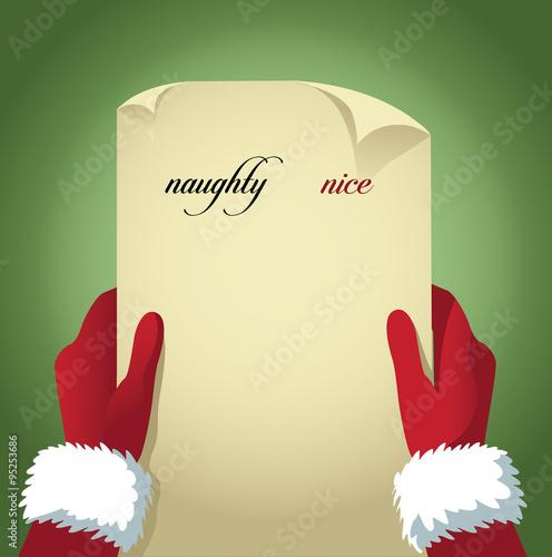 Fotografie, Obraz  Santa checking his naughty and nice list