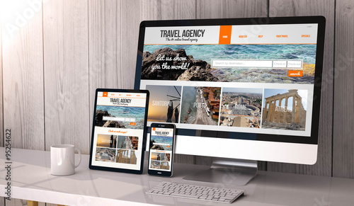 Photo devices responsive on workspace travel agency online