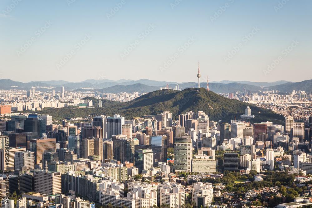 Fotografia  Aerial view of Seoul, South Korea capital city