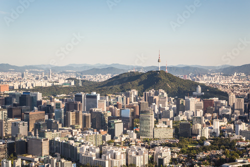 Aerial view of Seoul, South Korea capital city Poster