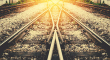 Train Rail Way With Sunlight Background Process On Vintage