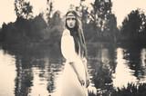 Bohemian lady at river - 95260265