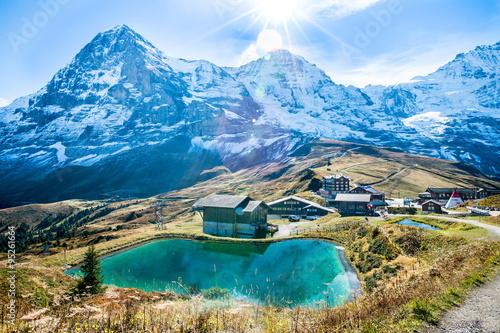 Fotografie, Obraz  Landscape of mountain lake over Jungfraujoch Top of Europe.