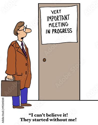 business cartoon showing a door very important meeting in progress