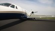 Panorama of the middle size business jet exterior with wide lens