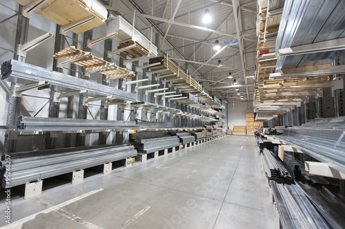 Valokuva  construction material warehouse, shelves with aluminum profiles