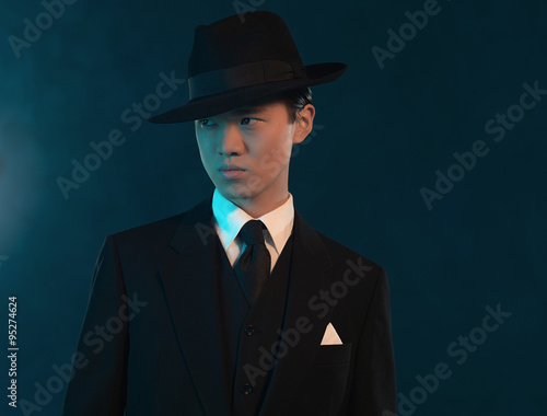 retro 1940 asian gangster fashion man buy this stock photo and